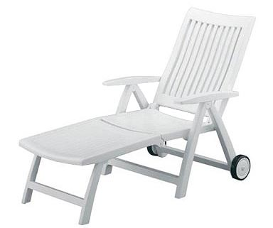 Kettler Roma White Plastic Resin Chaise Lounge Patio Pool Recliner