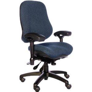 BodyBilt J2507x Blue Fabric High Back Task Ergonomic Chair with Arms, 22