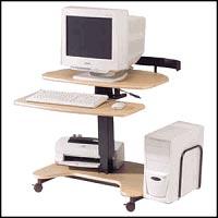 Height Adjustable Home Office Computer Desks - Balt HiLo Adjustable Height Ergonomic Mobile Computer Desk - Teak