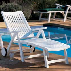 in stock kettler roma white plastic resin chaise lounge patio pool recliner - Garden Furniture Kettler