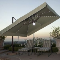 Perfect Tilting Offset Patio Umbrella   Wanda Portofino Sing2U Sunbrella Canopy  Offset Patio Umbrella UP338PC   Teak