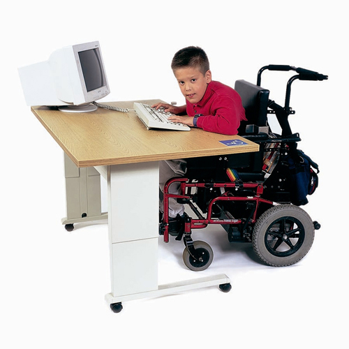 Wheelchair Accessible Desks - ADAS Equity 4830 Adjustable Computer Workstation - Amber Maple