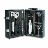 Picnic Time Manhattan Insulated Two-Bottle Cocktail Case/Bar Tool Kit, Black