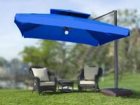 In Stock, Large Square Patio Umbrella   Wanda Portofino Pro   10x10    Sunbrella Canopy Lighted Patio Umbrella